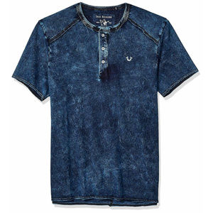 True Religion Men's Raw Edge Henley Tee T-Shirt